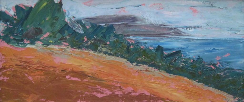 Boscawen Fields 2, oil on board 70 x 30cm