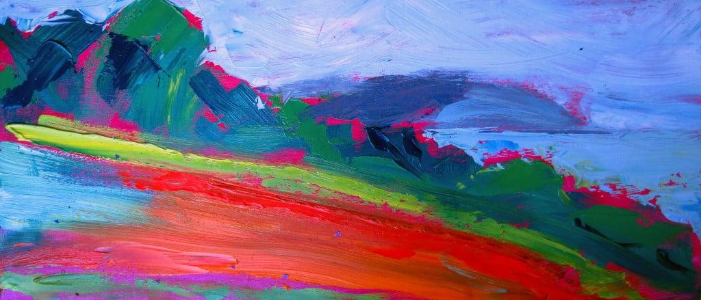 Boscawen fields, oil on board 70 x 30cm