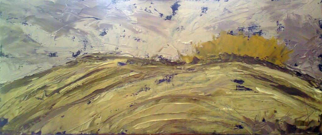 Nansidwell Hills, oil on board 70 x 30cm
