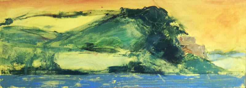 Castle Point, 15cm x 40  oil on wooden panel