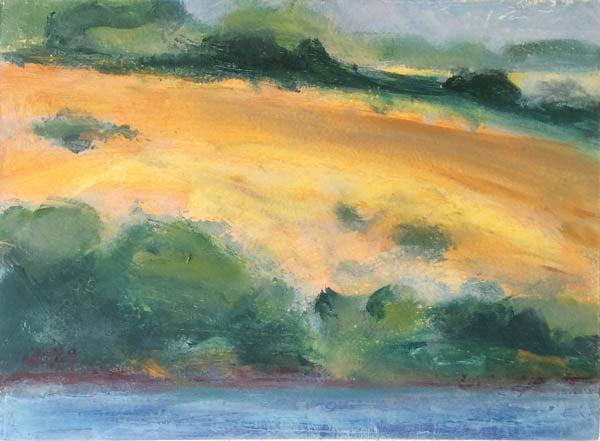 Summer Bank, 10cm x 40  oil on panel