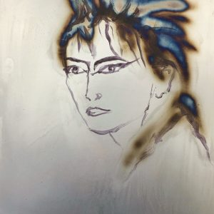 Jane Howard, Julie, acrylic paint and blow torch on steel plate, 31.5 x 42cm