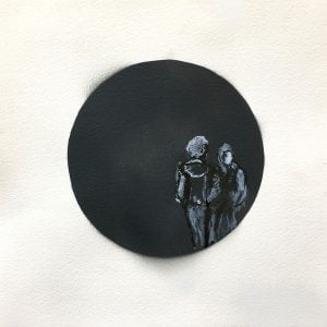 Jane Howard, No Go, indian ink, acrylic paint and spray paint, 37cm x 37cm