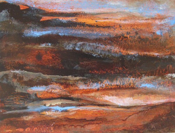Onwards, oil on boxed panel 20 x 15cm  sold
