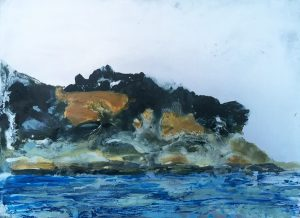 Jane Howard, Tension, enamel paint on aluminium 22 x 15cm