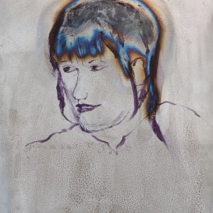 Jane Howard, Tracey, acrylic paint and blow torch on steel plate, 31.5 x 42cm