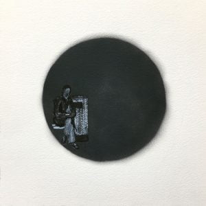 Jane Howard, Down But Not Out, indian ink, acrylic paint and spray paint, 37cm x 37cm
