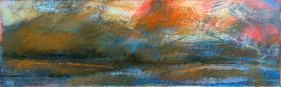 Evening Glory, oil on canvas 29.5 x 9.5cm