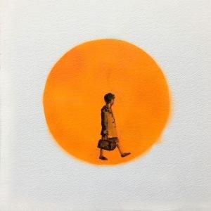 Jane Howard, Onwards, indian ink and acrylic spray paint, 37cm x 37cm