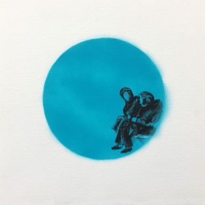 Jane Howard, Pondering, indian ink and acrylic spray paint, 37cm x 37cm
