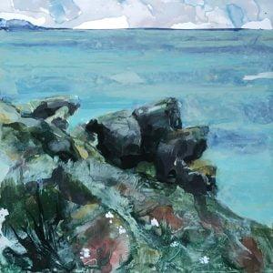 Jane Howard, Repose, enamel paint on aluminium, 12.5 x 12.5cm