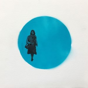 Jane Howard, Shopping, indian ink and acrylic spray paint, 37cm x 37cm