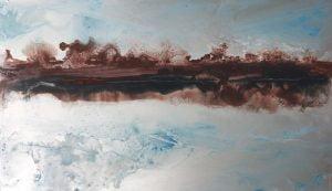 Jane Howard, Slow River, enamel paint on aluminium, 25.5 x 15cm