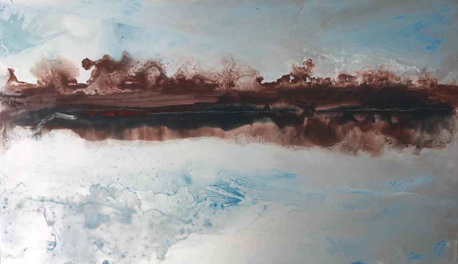 Slow River, enamel on aluminium 25.5 x 15cm