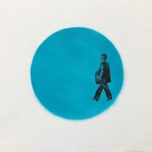 Jane Howard, Striding Through, indian ink and acrylic spray paint, 37cm x 37cm