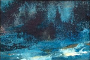 Jane Howard, The Night Garden, oil on canvas 18 x 13cm